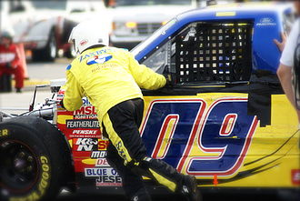 JTG Daugherty Racing - The No. 09 truck after a wreck in Martinsville Speedway  in 2007.