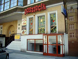 Culinary tourism - The oldest bar serving dough named pasztecik szczeciński in the center of Szczecin (Poland), a popular destination for tourists visiting the city. Pasztecik szczeciński is one of traditional dishes of Pomerania