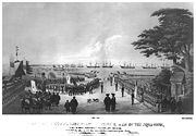 Landing of Commodore Perry, officers & men of the squadron, to meet the Imperial commissioners at Yoku-Hama (Yokohama?) July 14 1853. Lithograph by Sarony & Co., 1855, after W. Heine.