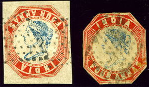 Inverted Head 4 Annas - A forgery of the Inverted Head (left), next to an ordinary stamp (right).  The head and frame of the inverted stamp are not from the First Printing, so this cannot be a genuine inverted head stamp.