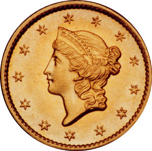 1854 Gold Dollar, Liberty Head, Obverse