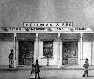 Isaias W. Hellman - 1857 Sketch of the Hellman Bros. first store in Los Angeles