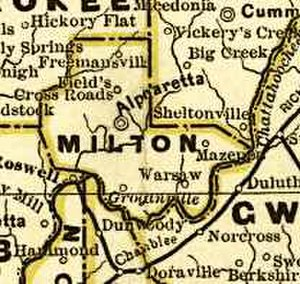 Milton County, Georgia - Original Milton County in 1883, with (counterclockwise from lower right) Gwinnett to the southeast, Forsyth to the northeast, Cherokee to the northwest, Cobb to the southwest, and Fulton (Hammond, now Sandy Springs) and DeKalb (Chamblee and Dunwoody) to the south. The northern edge of DeKalb also now no longer touches the river, as it did then.