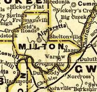 Milton, Georgia - 1883 map of Milton County