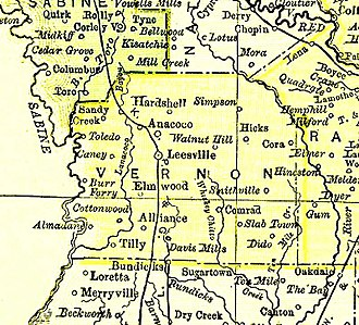 Vernon Parish, Louisiana - Vernon Parish map, 1895.