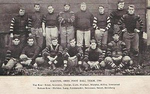 "Canton Bulldogs–Massillon Tigers betting scandal - 1906 Canton Bulldog: (Back L-R) Jack Ernst, Clark Schrontz, Tom Thorpe, Dave Cure, Blondy Wallace, Ed Murphy, ""Bullet"" Riley and Townsend (Front L-R) Sheldon, Jack Lang, Reemsnyder, Vince Stevenson, ""Pop"" Sweet and Paul Steinberg."