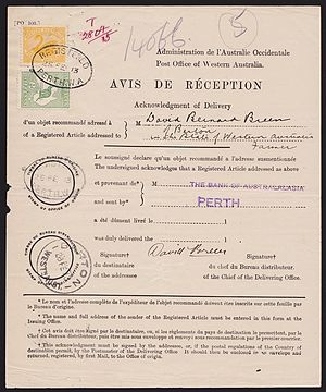 Avis de réception - Internal use of AR in 1913 from Perth to Barton, Western Australia.