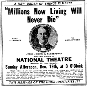 """Watch Tower Society unfulfilled predictions - Newspaper advertisement for Rutherford's """"Millions"""" lecture."""