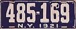 1921 New York license plate.JPG