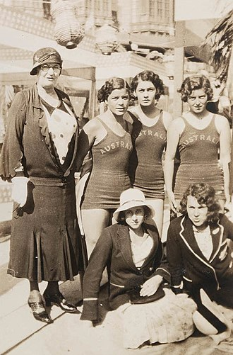 Speedo - Australian swimmers Bonnie Mealing, Clare Dennis, Frances Bult with chaperone and sprinters Eileen Wearne (Aus) and Thelma Kench (NZ) at the 1932 Los Angeles Olympics