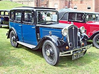 Wolseley Hornet six - SOHC 6-cylinder 4-door 6-light saloon registered October 1932