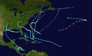 1940 Atlantic hurricane season - Image: 1940 Atlantic hurricane season summary map