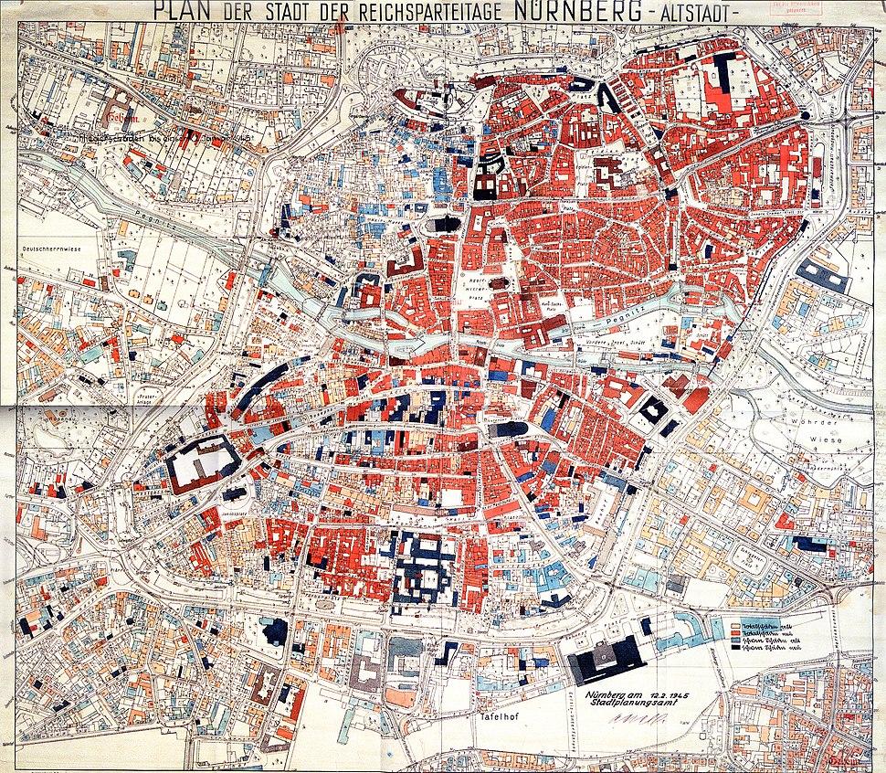 1945.02.12. Plan der Zerstörungen Nürnbergs