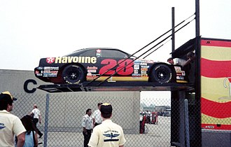 Yates Racing - Car No. 28 being unloaded from the transporter at Indianapolis Motor Speedway in 1993.