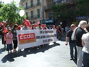 Manifestació 1er de maig, alguns manifestans d...