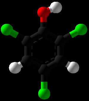 2,4,6-Trichlorophenol - Image: 2,4,6 Trichlorophenol Ball and Stick
