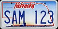 2005 Nebraska license plate SAM 123.jpg