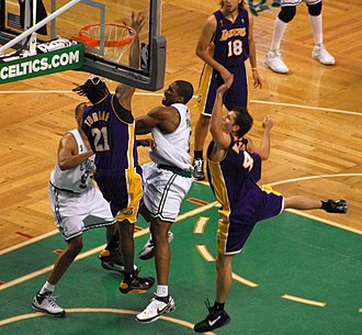 2008 NBA Finals - Leon Powe (center) had a memorable performance in Game 2