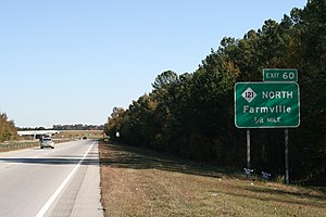 Farmville, North Carolina - U.S. Route 264 Exit 60 to Farmville.
