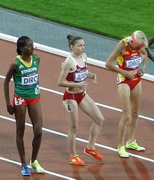 2012 Olympic steeplechase start-Diro, Jelizarova, Dominguez.JPG