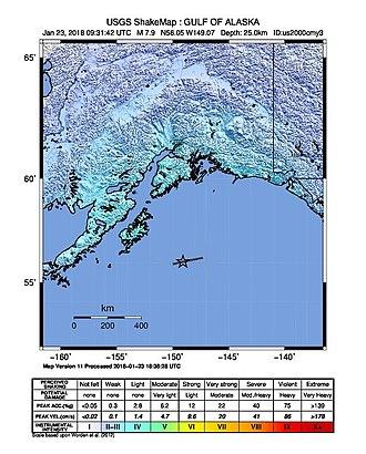 2018 Gulf of Alaska earthquake - Shakemap of the 2018 Alaska earthquake