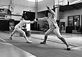 2nd Leonidas Pirgos Fencing Tournament. Double touch for Evridiki Kolletsou and Persefoni Pantazidi.jpg
