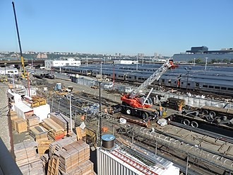 Hudson Yards (development) - 30th Street staging area for construction equipment and materials.
