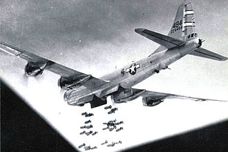 "XX Bomber Command - 468th Bombardment Group Boeing B-29-30-BW Superfortress 42-24494 ""Mary Ann"" (792d Bombardment Squadron) attacking Hatto, Formosa on 18 October 1944 with high-explosive bombs."