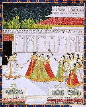 Harem - New entrant to a prince's harem. Jaipur, late 18 century, National Museum New Delhi