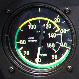 "Airspeed indicator - A high sensitivity ""540 degree"" airspeed indicator used in a glider. The pointer swings past zero (top), but the colored arcs do not overlap. The needle shows an indicated airspeed of 60 knots."