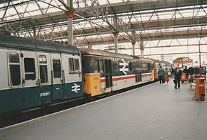 British Rail Class 438 - The flexibility of the 4-TC concept is illustrated here, as 73119 'Kentish Mercury' is providing the power whilst coupled to a 4-TC at each end.