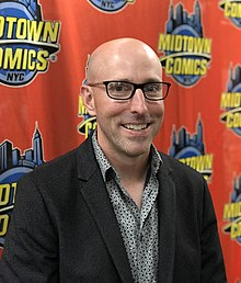 Vaughan at a signing at Midtown Comics in Manhattan