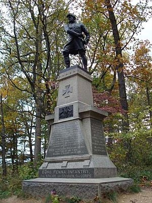 83rd Pennsylvania Infantry - The 83rd Pennsylvania's monument on the slopes of Little Round Top at Gettysburg.