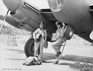 No. 87 Squadron RAAF - The pilot and navigator of a No. 87 Squadron Mosquito returning from a mission in 1945