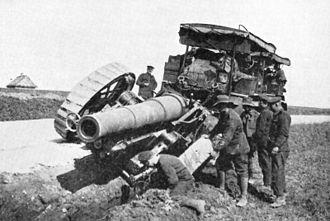 BL 8-inch howitzer Mk VI – VIII - Mk 6 has slid off-road behind Holt artillery tractor, WWI