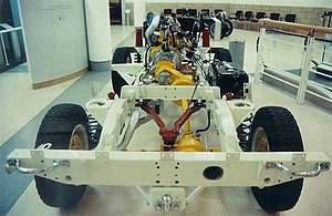Transmission brake - Land Rover 90 rolling chassis, with drivetrain painted yellow. The transmission brake is the yellow drum, to the right rear of the transfer box.