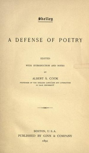 A Defence of Poetry - 1891 title page of A Defense of Poetry by Ginn and Co., Boston