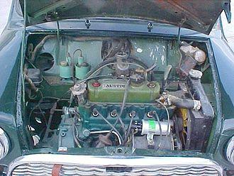 BMC A-series engine - An 848 cc A-series engine in a 1963 Austin Mini