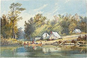 Canoe camping - A Tenting Party, by Alicia Killaly, c. 1860.