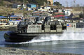 A U.S. Navy LCAC (Landing Craft Air Cushioned) comes ashore during an amphibious assault by ROK and U.S. Marines on Tok Sok Ri beach, north of Pohang, Korea on March 23, 2002 as part of Exercise RSOI-Foal Eagle 020323-A-MX570-139.jpg