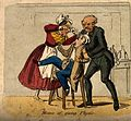 A doctor restraining a young man while a lady funnel-feeds h Wellcome V0011079.jpg
