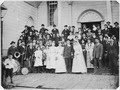 A group in front of the Metlakahtla Christian Mission Church following a wedding ceremony. - NARA - 297991.tif