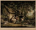 A group of people are sitting outside a cottage with childre Wellcome V0041117.jpg