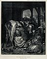 A maid is milking a cow surrounded by goats and a calf while Wellcome V0020877.jpg