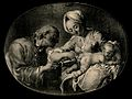 A man administers an enema to a baby. Reproduction of a pain Wellcome V0011668.jpg