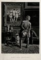 A man studying a painting of the three Graces. Mezzotint by Wellcome V0049060.jpg