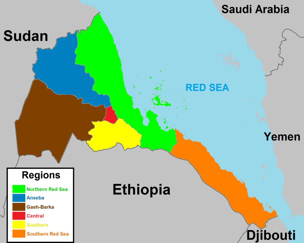 A map of Eritrea regions