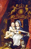 A young King Louis XIV of France (wearing Fleur-de-lis) sitting on a throne with his brother Philippe, Duke of Orléans