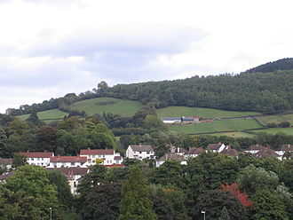 Abergavenny - Part of Abergavenny and Ysgyryd Fach (Little Skirrid) from the castle ruins