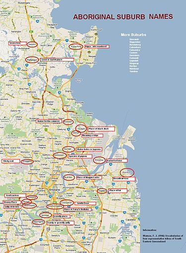 Brisbane Suburb Map Brisbane suburbs with Aboriginal names   Wikipedia